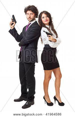 Evil Businessman And Businesswoman