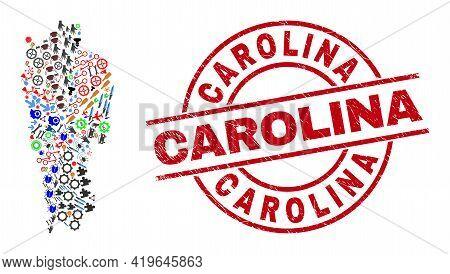 Mizoram State Map Collage And Distress Carolina Red Round Stamp Print. Carolina Stamp Uses Vector Li