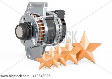 Rating Of Starters Concept. Starter With Five Golden Stars, 3d Rendering Isolated On White Backgroun