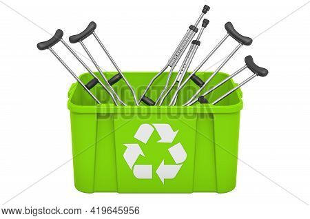 Recycling Trashcan With Underarm Crutches. 3d Rendering Isolated On White Background