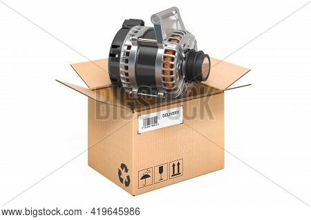 Starter Inside Cardboard Box, Delivery Concept. 3d Rendering Isolated On White Background