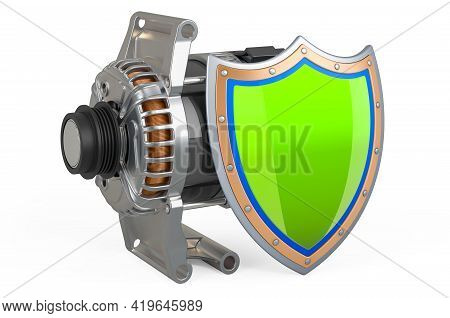 Starter With Shield, 3d Rendering Isolated On White Background