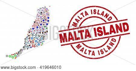 Fuerteventura Island Map Collage And Distress Malta Island Red Circle Stamp Print. Malta Island Stam