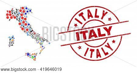 Italy Map Mosaic And Rubber Italy Red Circle Stamp Seal. Italy Stamp Uses Vector Lines And Arcs. Ita
