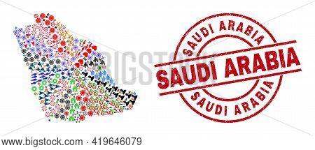 Saudi Arabia Map Collage And Unclean Saudi Arabia Red Circle Stamp Seal. Saudi Arabia Stamp Uses Vec