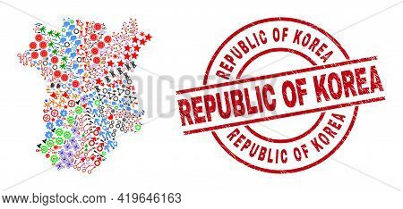 Chechen Republic Map Collage And Rubber Republic Of Korea Red Round Watermark. Republic Of Korea Bad
