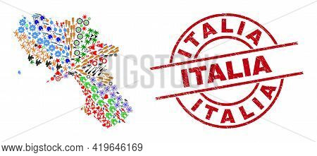 Campania Region Map Mosaic And Grunge Italia Red Circle Stamp. Italia Stamp Uses Vector Lines And Ar