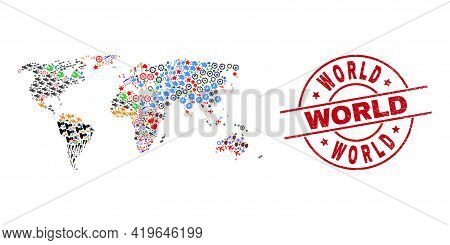 World Map Mosaic And Textured World Red Round Badge. World Badge Uses Vector Lines And Arcs. World M