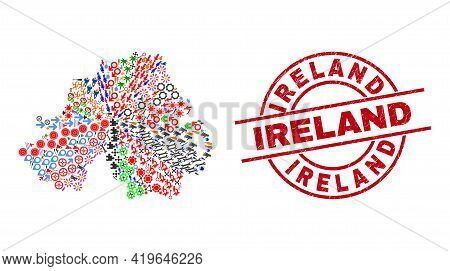 Northern Ireland Map Collage And Distress Ireland Red Round Stamp Seal. Ireland Seal Uses Vector Lin