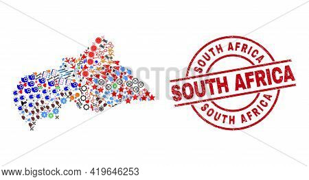 Central African Republic Map Mosaic And Distress South Africa Red Round Stamp Seal. South Africa Sta