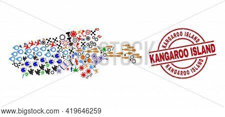 Kangaroo Island Map Mosaic And Unclean Kangaroo Island Red Circle Stamp Seal. Kangaroo Island Seal U