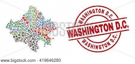 Rajasthan State Map Mosaic And Distress Washington D.c. Red Circle Stamp Seal. Washington D.c. Seal
