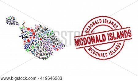 Heard And Mcdonald Islands Map Mosaic And Textured Mcdonald Islands Red Circle Watermark. Mcdonald I