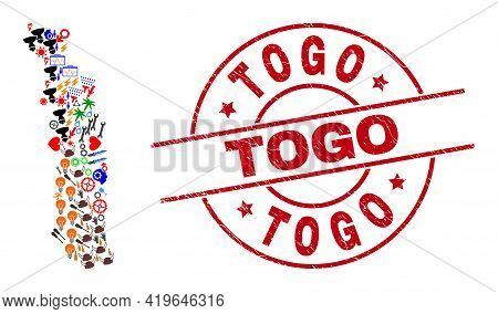 Togo Map Mosaic And Grunge Togo Red Round Badge. Togo Badge Uses Vector Lines And Arcs. Togo Map Col