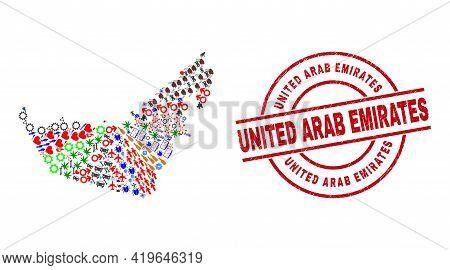 United Arab Emirates Map Mosaic And Grunge United Arab Emirates Red Circle Stamp Seal. United Arab E