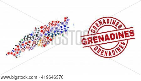 Tobago Island Map Mosaic And Unclean Grenadines Red Round Seal. Grenadines Seal Uses Vector Lines An