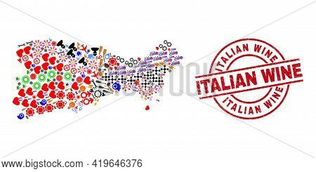 Capri Island Map Collage And Distress Italian Wine Red Round Stamp Seal. Italian Wine Seal Uses Vect