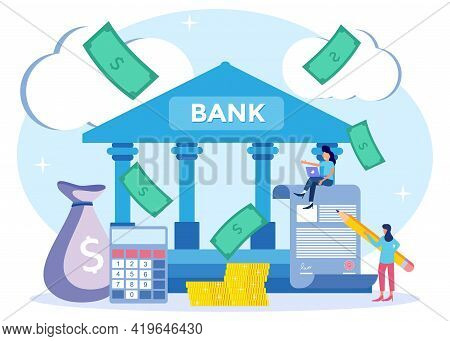 Flat Isometric Vector Illustration. Coins, Banknotes, Financial Documents Are In The Building Of The