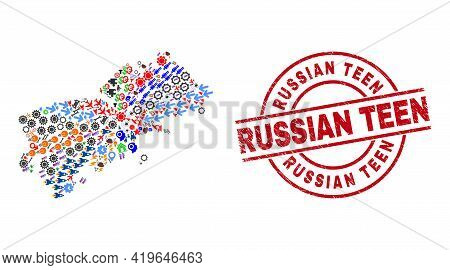 Shikotan Island Map Mosaic And Grunge Russian Teen Red Round Badge. Russian Teen Badge Uses Vector L