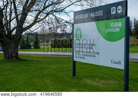 Ottawa, Ontario, Canada - May 1, 2021: A Sign For The Canada Agriculture And Food Museum. The Museum