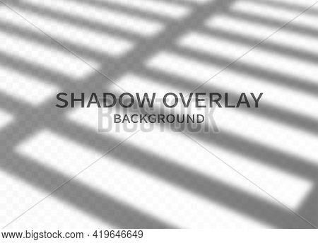 Shadow Overlay Effect Background. Transparent Shadow Of Window Jalousie And Soft Light On Transparen