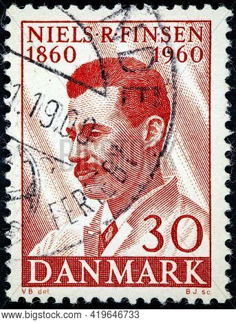Denmark - Circa 1960: Stamp Printed By Denmark, Shows Niels Ryberg Finsen Danish Physician, Known Fo