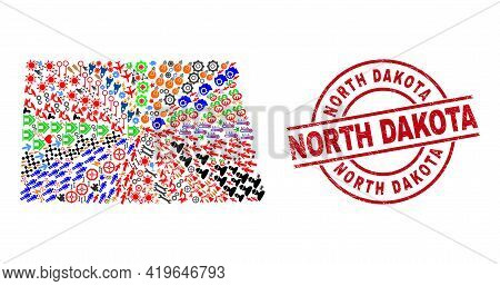 North Dakota State Map Mosaic And Rubber North Dakota Red Circle Stamp Print. North Dakota Stamp Use