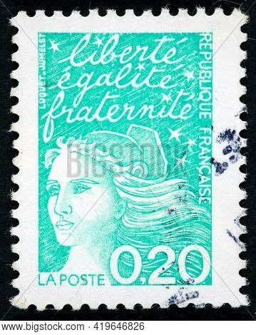 France Circa 1980 : A Postage Stamp Printed In France With Portrait Of Marianne And Writing Liberte,