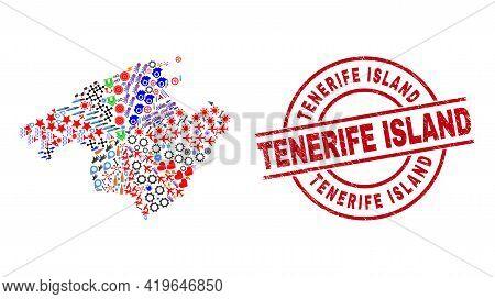 Majorca Map Mosaic And Distress Tenerife Island Red Circle Stamp. Tenerife Island Stamp Uses Vector