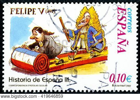 Spain - Circa 2002: A Stamp Printed In The Spain Shows The History Of Spain Series, Felipe V Today C