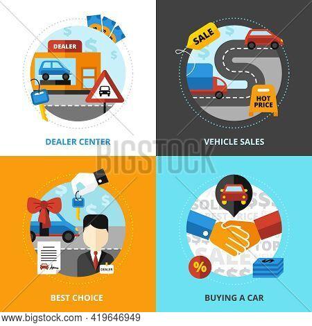 Car Dealership 2x2 Design Concept Set Of Dealer Center Vehicle Sale Buying Automobile Flat Vector Il