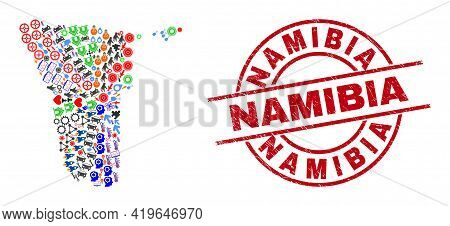 Namibia Map Collage And Grunge Namibia Red Round Stamp Print. Namibia Stamp Uses Vector Lines And Ar