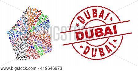 Dubai Emirate Map Collage And Distress Dubai Red Circle Stamp. Dubai Badge Uses Vector Lines And Arc