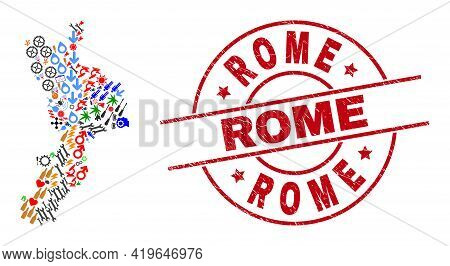 Calabria Region Map Mosaic And Distress Rome Red Circle Badge. Rome Badge Uses Vector Lines And Arcs