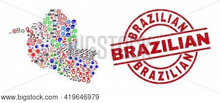 Rondonia State Map Mosaic And Unclean Brazilian Red Circle Stamp Seal. Brazilian Seal Uses Vector Li