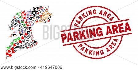 Pontevedra Province Map Mosaic And Scratched Parking Area Red Round Badge. Parking Area Badge Uses V