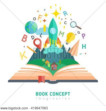 Book Concept With Flat Imagination And Education Symbols Vector Illustration