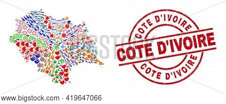 Himachal Pradesh State Map Mosaic And Distress Cote Divoire Red Round Badge. Cote Divoire Badge Uses