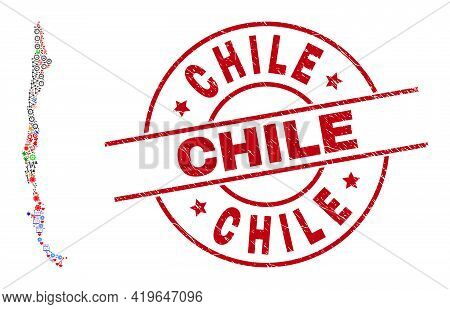 Chile Map Collage And Textured Chile Red Round Badge. Chile Badge Uses Vector Lines And Arcs. Chile