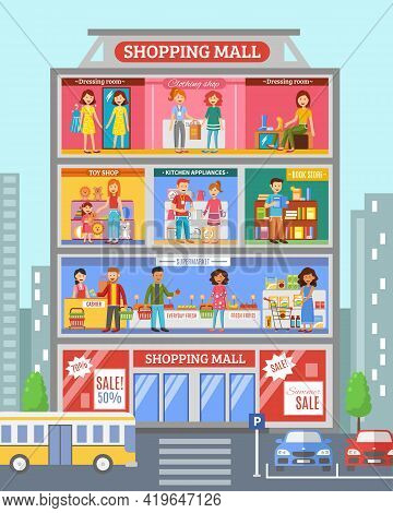 Shopping Mall Center Store Section With Grocery And Clothing  Departments Sale Customers Poster Abst