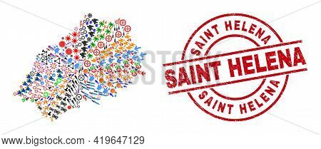Saint Helena Island Map Collage And Saint Helena Red Circle Stamp. Saint Helena Stamp Uses Vector Li