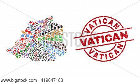 Vatican Map Collage And Rubber Vatican Red Round Badge. Vatican Badge Uses Vector Lines And Arcs. Va