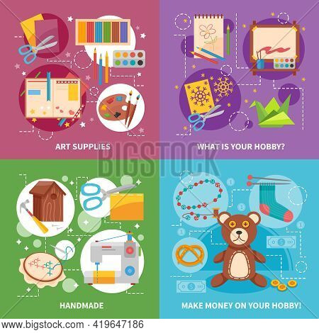Hobby 2x2 Design Concept With Handicraft Items Art Supplies Soft Toy And Tools For Handmade Flat Vec