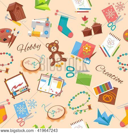 Hobby And Creation Flat Pattern With Handicraft Elements And Supplies For Handmade Background Vector