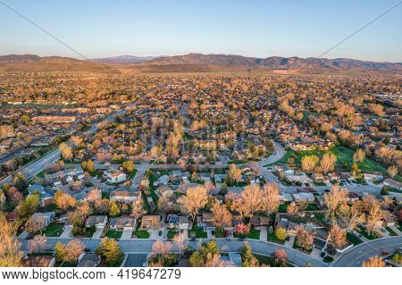 residential area of Fort Collins in northern Colorado, morning aerial view of early spring scenery