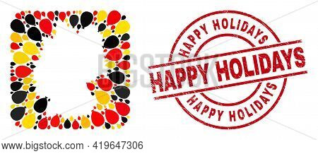 German Geographic Map Mosaic In German Flag Official Colors - Red, Yellow, Black, And Happy Holidays