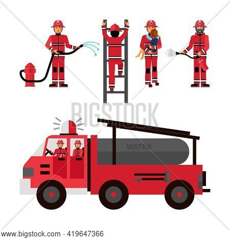 Firefighter Flat Color Icons Set On White Background With Firetruck And Fireman Brigade Isolated Vec