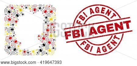 Germany Map Collage In German Flag Official Colors - Red, Yellow, Black, And Fbi Agent Red Round Sta