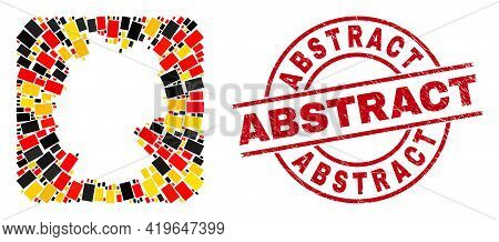 German Map Mosaic In German Flag Official Colors - Red, Yellow, Black, And Rubber Abstract Red Circl