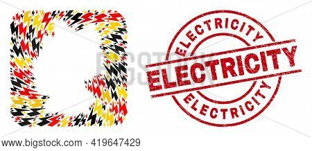 Germany Map Collage In Germany Flag Official Colors - Red, Yellow, Black, And Distress Electricity R